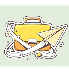 Paper plane flying around yellow briefcas vector