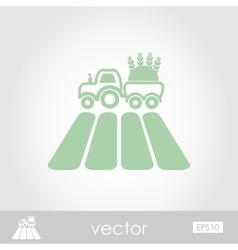 Tractor on field icon vector