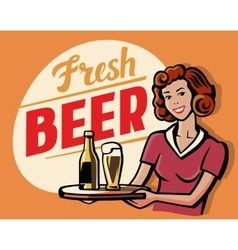Retro beer girl vector