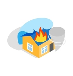House is on fire icon isometric 3d style vector image