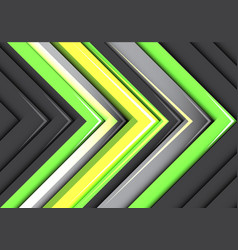 abstract green yellow neon gray arrows pattern vector image vector image