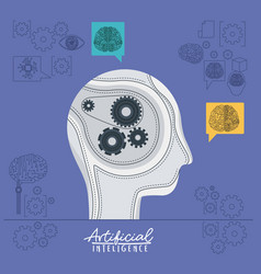artificial intelligence poster with human head vector image