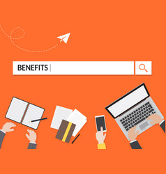 Benefits search graphic for business vector