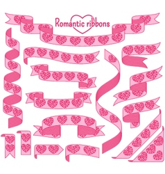 Cartoon stripped ribbons with hearts vector