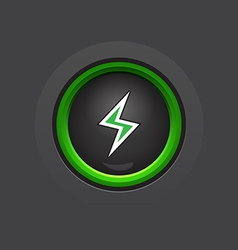 Dark glossy circle lightning button vector