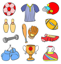 Doodle of colorful sport equipment vector