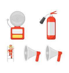 Fire extinguisher alarm megaphone fireman on vector