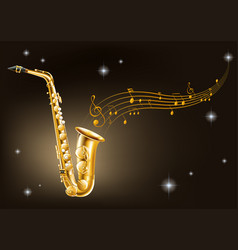 Golden saxophone on black background vector