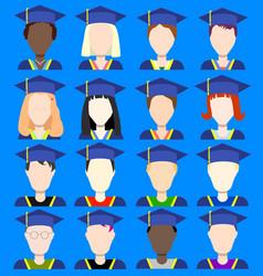 Graduates avatars flat icons vector