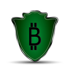 green shield with bitcoin symbol vector image