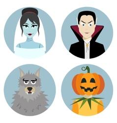 Halloween character set Vampire werewolf dead vector image vector image