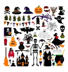 Halloween fashion flat icons vector image vector image