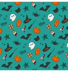 Halloween flat pattern turquoise vector image