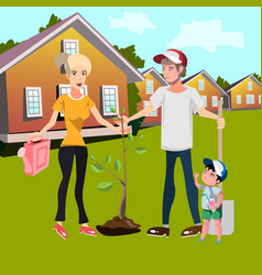 Happy family planting trees in courtyard vector
