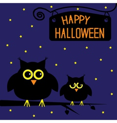 Happy halloween cute owls card starry night vector