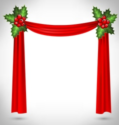 holly sprigs hold red curtain on grayscale vector image