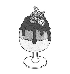 ice cream with chocolate sauce in a glass hand vector image vector image