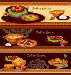 Indian cuisine restaurant banner for thali design vector