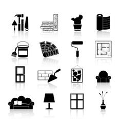 Interior design icons black vector
