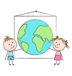 Kids with planet vector image