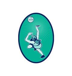 Netball player rebounding jumping for bal vector