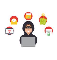 Online money thief hacker in internet vector