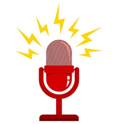 red microphone new white vector image