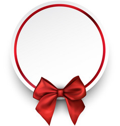 round holiday background with red bow vector image