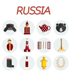 Russia flat icon set vector