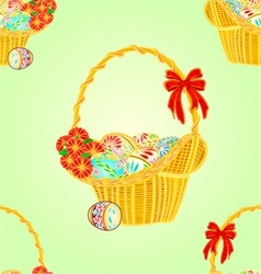 Seamless texture wicker basket and easter eggs vector