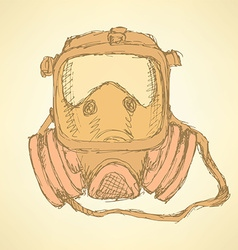 Sketch respiratory mask in vintage style vector image vector image
