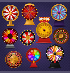 spinning fortune wheel lucky roulette casino vector image vector image