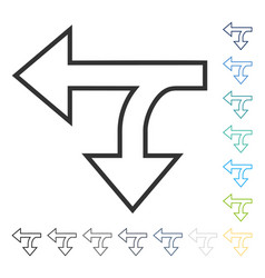 Split direction left down icon vector
