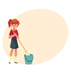 Teenage girl helping to clean house washing vector