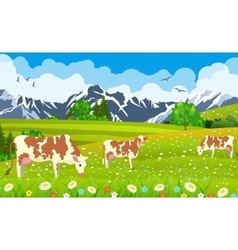 three cows in a landscape and farm vector image vector image