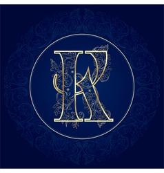 Vintage floral alphabet letter K vector image vector image