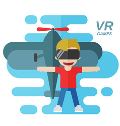 Virtual reality games flat vector