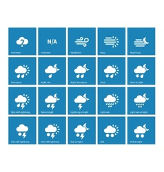 Weather icons on blue background vector