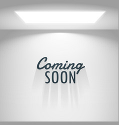 white room with light and coming soon text vector image