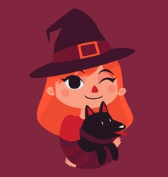 Witch Girl Holding a Black Dog vector image