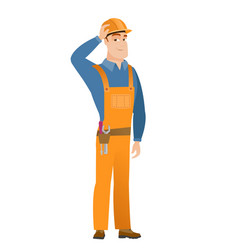 young caucasian builder in workwear and hard hat vector image