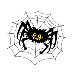 Halloween spider with cobweb vector