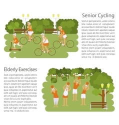 Banners of retired elderly senior age couple vector