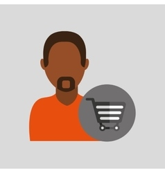 Man african cart shop buy icon design graphic vector