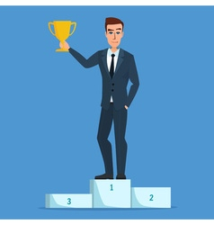 Success businessman character standing in a podium vector