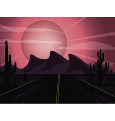 Sunset in the desert vector