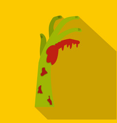 Zombie green bloody hand icon flat style vector