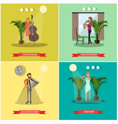 Flat posters set with musicians playing vector