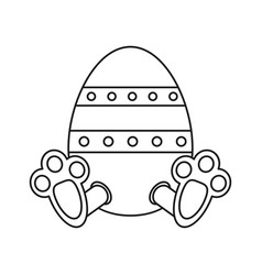 Easter egg with bunny paw thin line vector