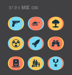 Army icons set collection of glass missile vector